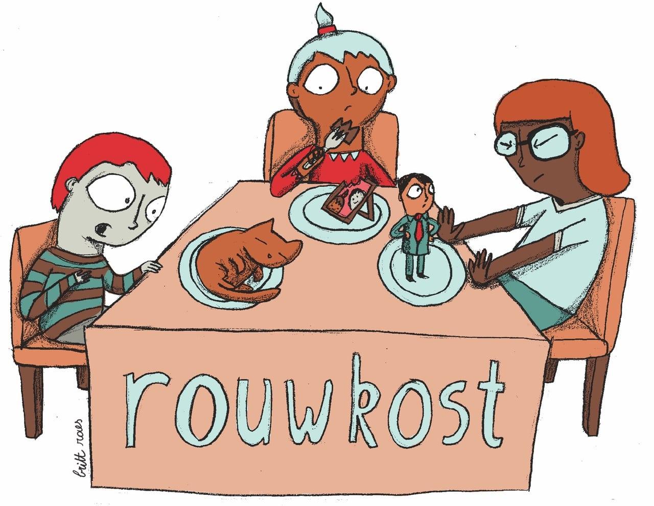 Illustratie door Britt Raes waarin de woordspeling van Rouwkost uitgebeeld wordt. Drie mensen verteren hun verlies, op hun bord zie je een afbeelding van de persoon of het dier waar ze om rouwen.